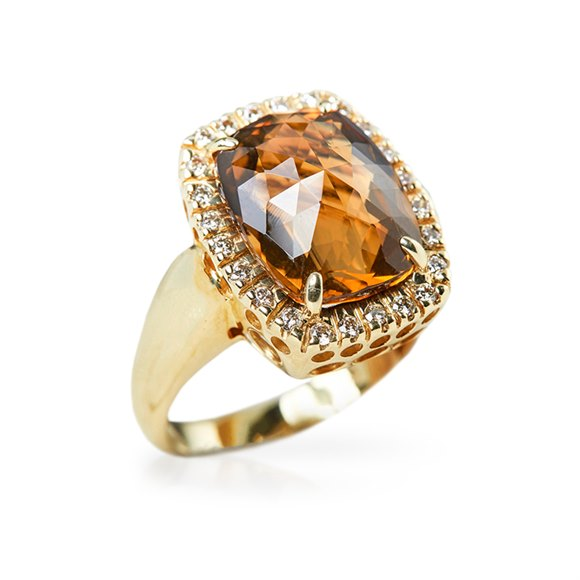 14k Yellow Gold 6.00ct Citrine & 0.40ct Diamond Ring