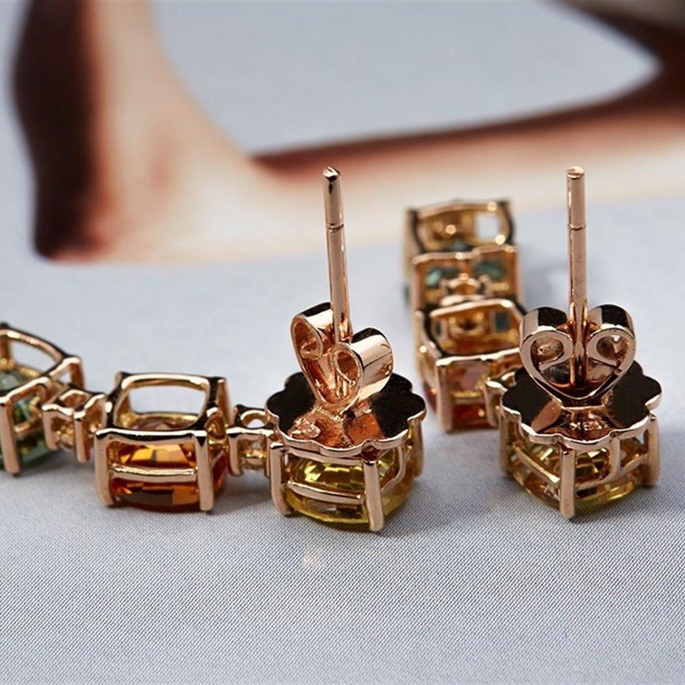 18K Rose Gold 8.15 cts Sapphire/Diamond Earrings