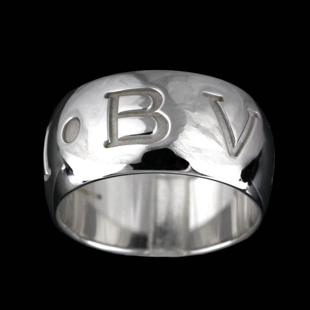 Bvlgari (or Bulgari)18K White Gold Monologo Ring Size 53