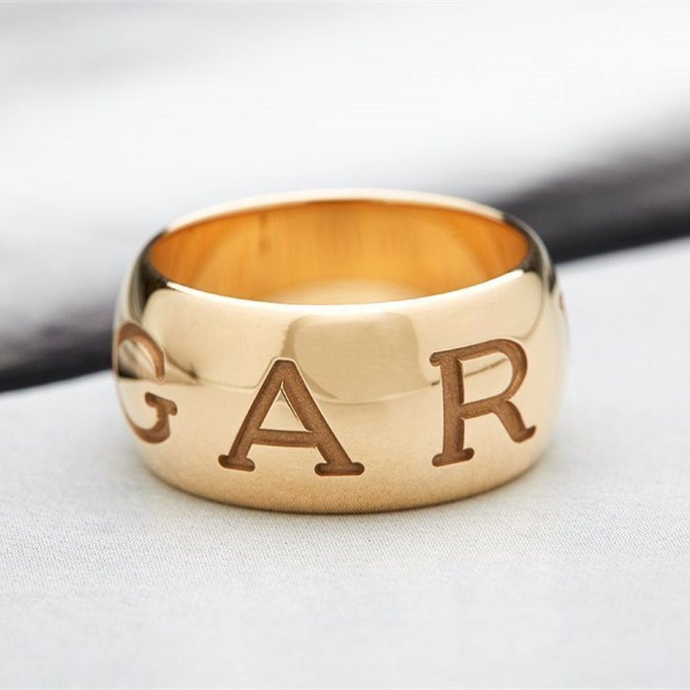 Bvlgari (or Bulgari)18K Yellow Gold Monologo Ring Size 54