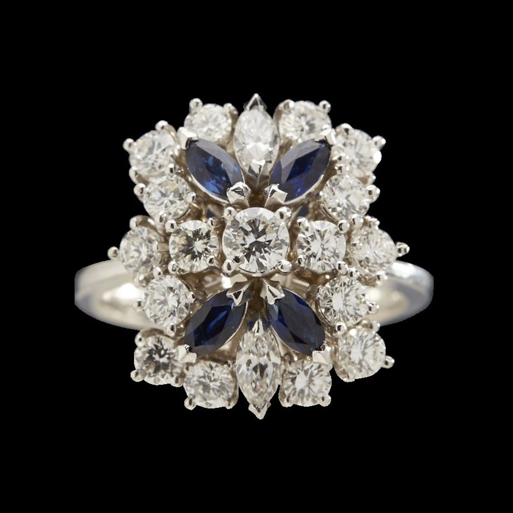 Stunning 18K White Gold 1.40cts Diamond and Sapphire Ring