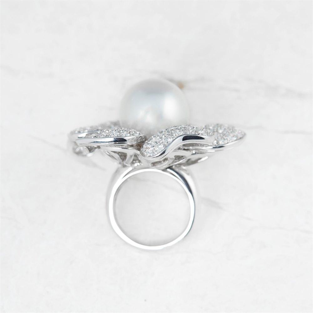 Picchiotti 18k White Gold South Sea Pearl & 7.80ct Diamond Flower Ring