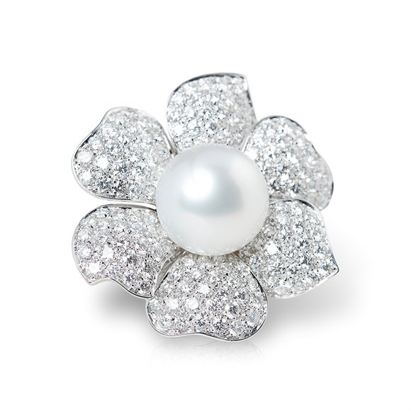 Picchiotti 18k White Gold South Sea Pearl & 7.80ct Diamond Flower Ring