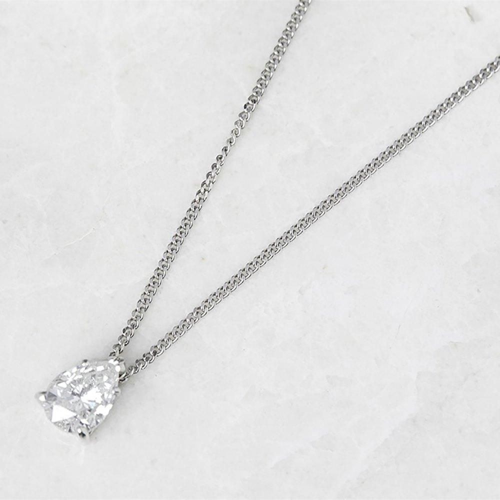18k White Gold Pear Cut 1.05ct Diamond Necklace