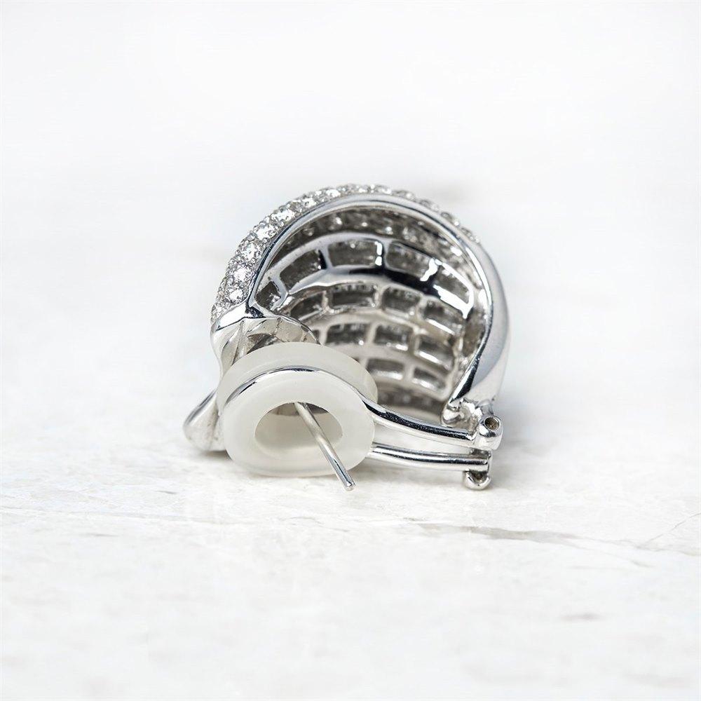 18k White Gold 12.00ct Baguette & Round Cut Diamond Earrings