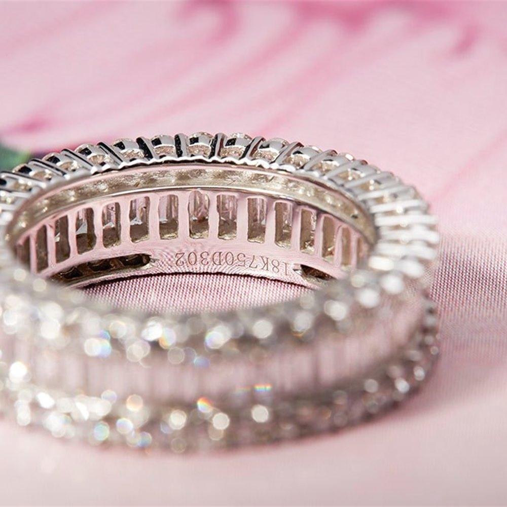18K White Gold 3.00cts G VS/SI Baguette & Brilliant Cut Diamond Eternity Ring