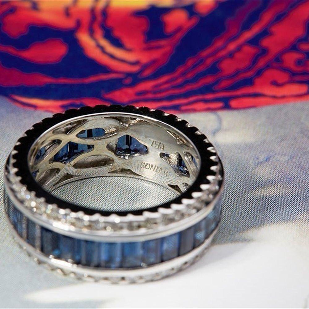 Sonia B 18K White Gold 6.00cts Diamond & Sapphire Eternity Ring