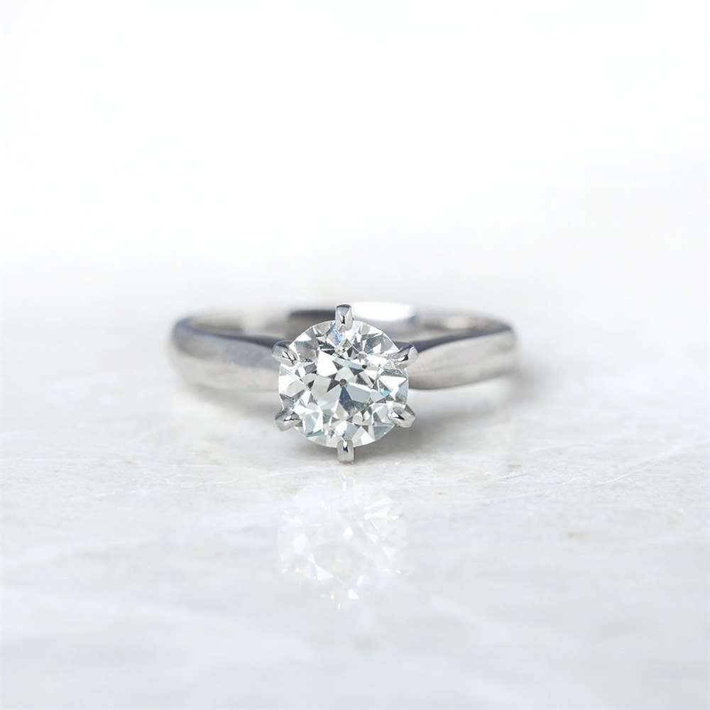 18k White Gold Solitaire 1.35ct Round Brilliant Cut Diamond Ring