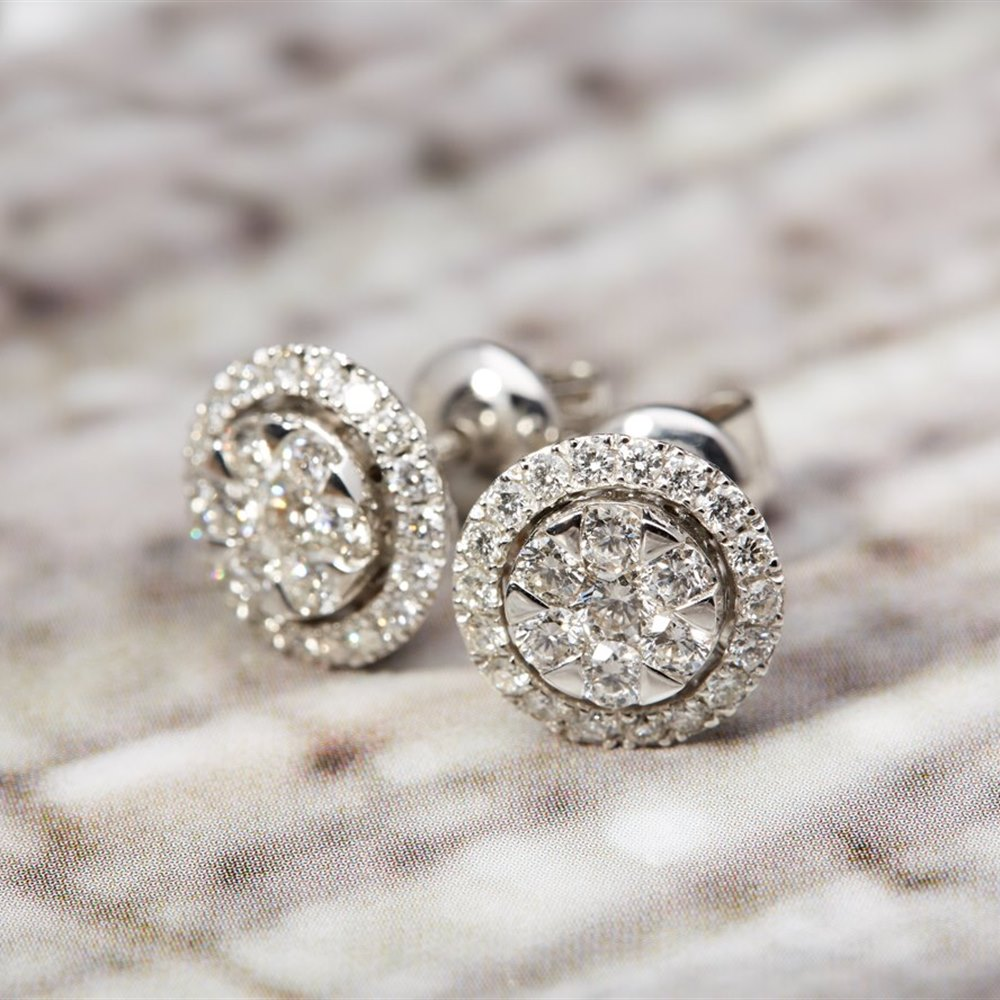 Mappin & Webb 18k White Gold 1.08ct Diamond Cluster Earrings