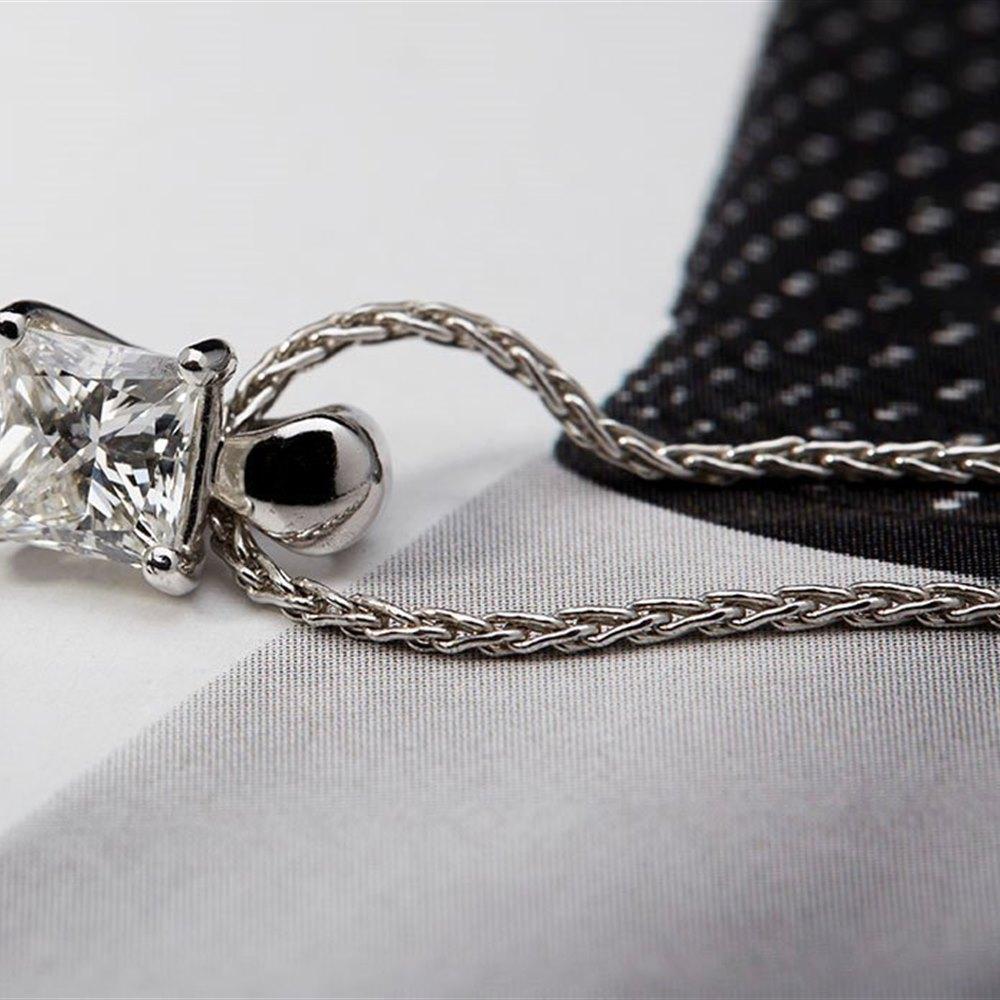 Mappin & Webb Platinum 0.75cts Princess Cut Diamond Necklace