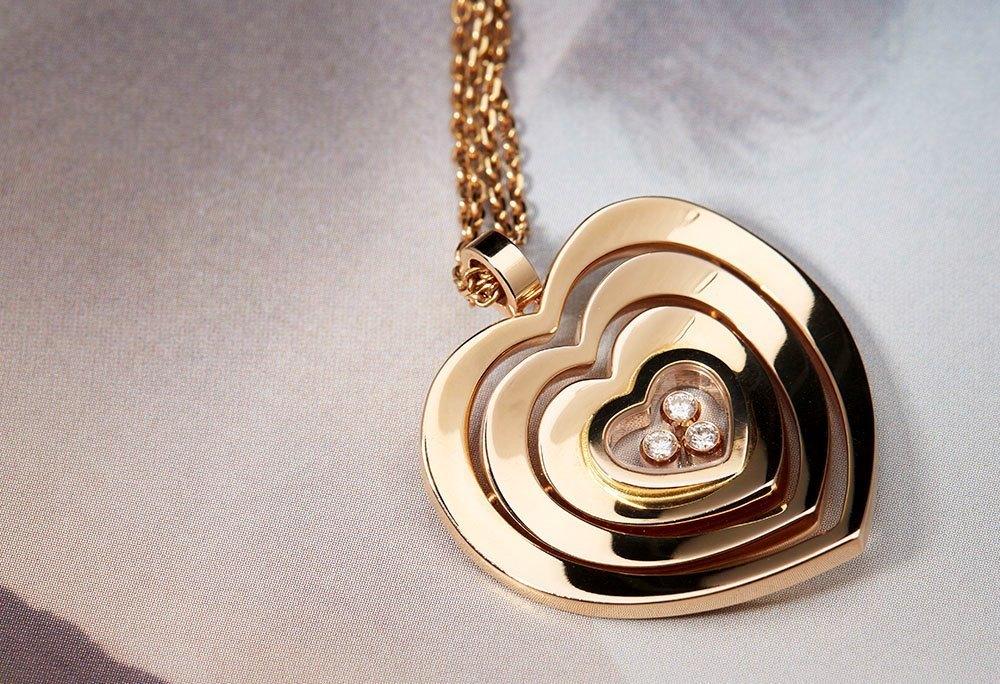 Chopard 18K Rose Gold Happy Hearts Floating Diamonds ...