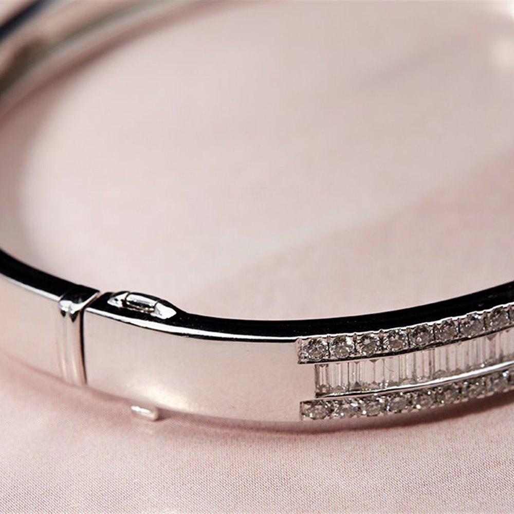 Goldsmiths 18k White Gold Baguette & Round Brilliant Cut 4.50cts Diamond Bracelet