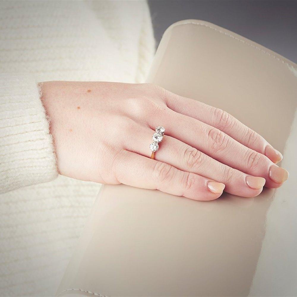 18k Yellow & White Gold 1.40ct Diamond Trilogy Ring