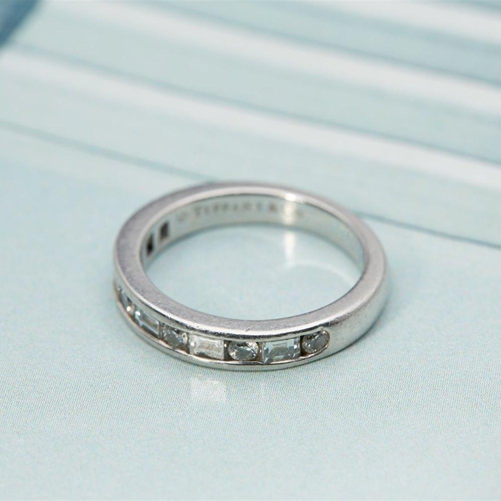Tiffany Platinum Brilliant/ Emerald Cut Diamond ring 1.00ctsVS/G US Size 4.5